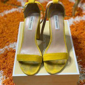 Yellow Mustard Suede Open Toe Heels